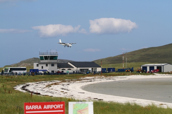 Coming in to land at Barra International.
