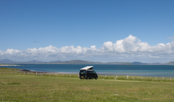 Our first Campsite on the Outer Hebrides. Nice view over the sound of Barra!