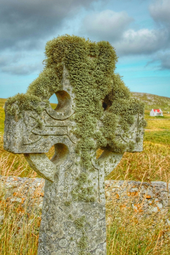Celtic cross at Cille Bharra, Eoligarry, Isle of Barra